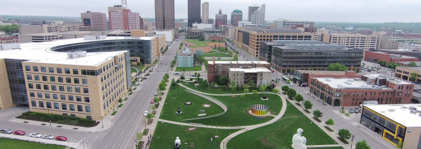 Aerial photo of the downtown sculpture park.